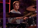 'Beauty and a Beat' singer sits in with the Late Late Show band in surprise cameo.