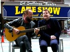 Grumpy Sting grows tired of Corden's antics while singing 'Every Breath You Take'.