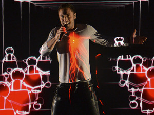 Mans Zelmerlow representing Sweden performs the song 'Heroes' during the second semi-final of the Eurovision Song Contest
