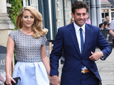 Lydia Bright and James Argent arriving at St. Mary's Church, Bury St. Edmunds for the wedding of Mark Wright and Michelle Keegan in Suffolk, UK.