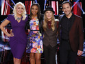 Meghan Linsey, Koryn Hawthorne, Sawyer Fredericks, Joshua Davis in the final of The Voice