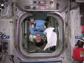 Samantha Cristoforetti celebrates World Towel Day in style on board the ISS.