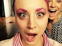 Kaley Cuoco-Sweeting debuts her bright new look in a series of photos on Instagram.