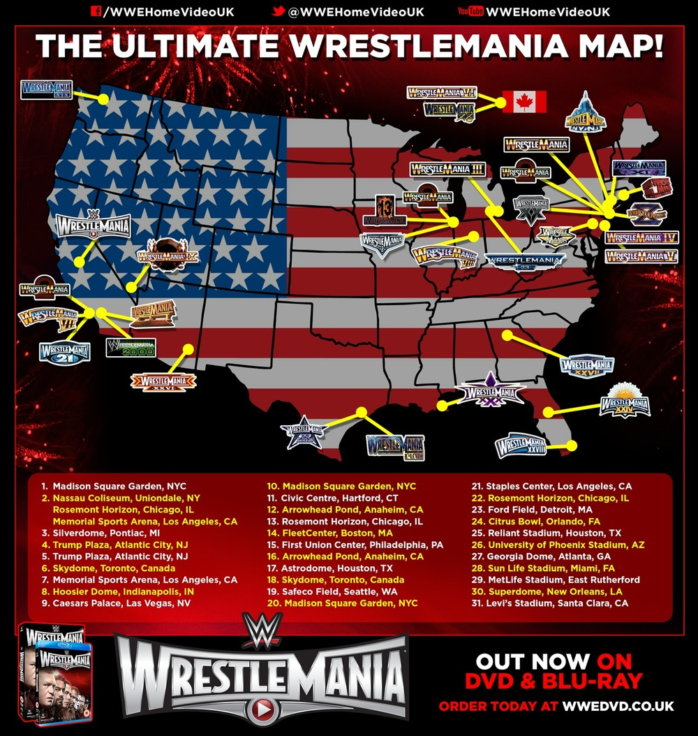 WWE Hyping Hideo Itamis Return To Japan WrestleMania Map Billy - Chicago map rosemont