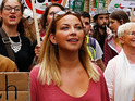 The two stars lend their support to anti-austerity movement at London demonstration.