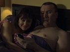 Hywel falls back into Gaynor's arms.