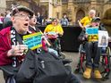 The crowd attempt to take MPs to task over the closure of the Independent Living Fund.