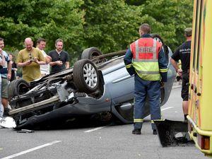 Greg Wood & Tamara Wall filming a spectacular crash scene for Hollyoaks
