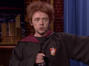 Drunk Ron Weasley (Simon Pegg) visits The Tonight Show Starring Jimmy Fallon