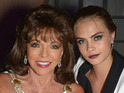 Caption:SAINT-TROPEZ, FRANCE - JULY 23: (L-R) Joan Collins and Cara Delevingne attend the Leonardo Dicaprio Gala at Domaine Bertaud Belieu on July 23, 2014 in Saint-Tropez, France. (Photo by Dominique Charriau/French Select/Getty Images)
