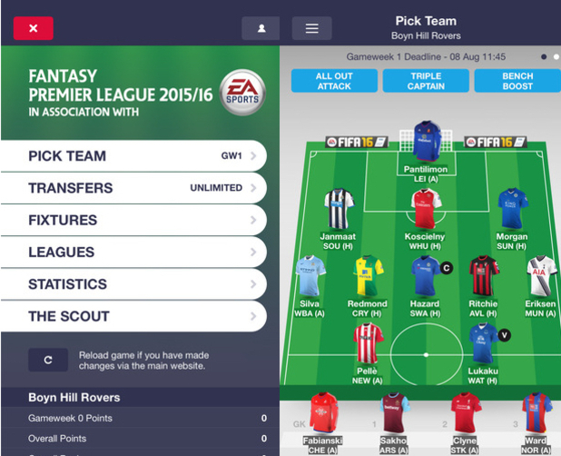 Fantasy Premier League 2015/16 App