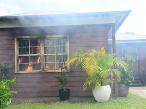 A fire breaks out at Leah's house