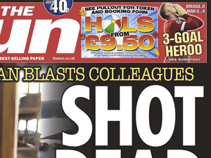 Close crop of The Sun's front page following the Virginia shootings