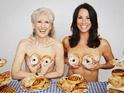 Andrea McLean and Anita Dobson pose with some strategically placed iced buns.
