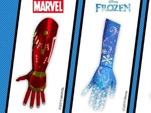 Bionic Iron Man hand, Star Wars lightsaber hand, Frozen Snowflake hand.